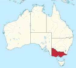 Map of Australia with  Victoria highlighted