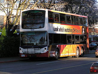 Victoria Regional Transit System - An Alexander Dennis Enviro500 equipped with bike rack, one of the double deckers servicing Victoria.