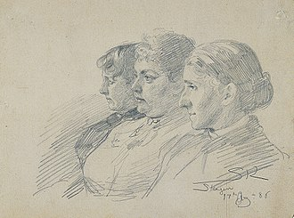 Marianne Stokes - Vilhelmine Bramsen, Beatrice Diderichsen and Marianne Stokes (front) in Skagen. Drawing by Peder Severin Krøyer . 14 Aug. 1886