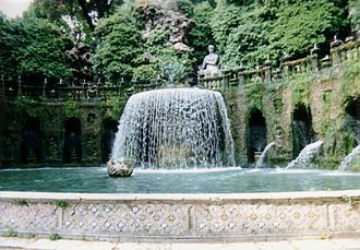 "Italian Renaissance garden - The Fontana dell'Ovato (""Oval Fountain"") at the Villa d'Este at Tivoli (1572)"