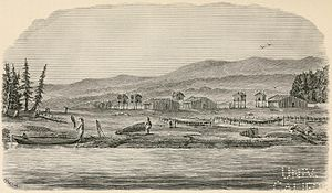 William Healey Dall - Village on the lower Yukon during fishing season, June 1868, from an original sketch by Dall