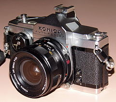Vintage Konica Auto-Reflex 35mm SLR Film Camera, Made In Japan, First Focal-Plane-Shutter Auto Exposure 35mm SLR, Circa 1966 (13490913093).jpg