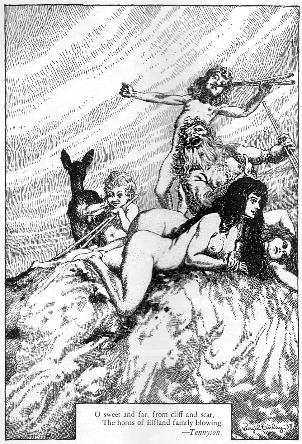Virgil Finlay Weird Tales October 1938 Horns of Elfland