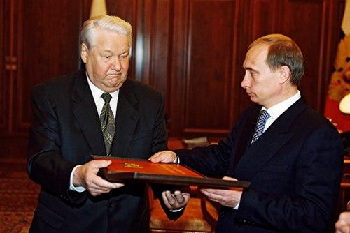 Vladimir Putin with Boris Yeltsin-2