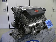 Large automobile engine with Bugatti logo