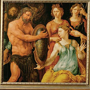 Vulcan hands Thetis the shield for Achilles1536 By Maerten van Heemskerck born 1498.jpg