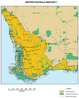 Location of the Wheatbelt within Western Australia WA Wheatbelt A4.jpg