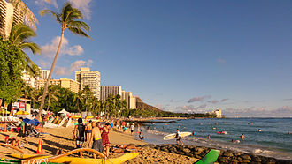 Waikiki Beach is one of the most known beaches in the world. Waikiki Beach, Honolulu.JPG