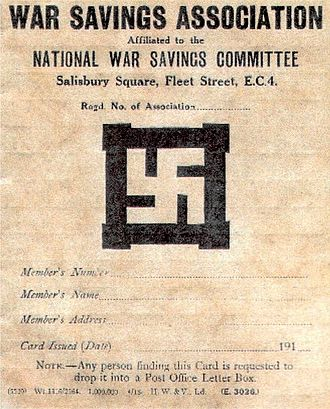 National Savings Movement - A World War I savings card showing the Swastika symbol subsequently abandoned by the movement.