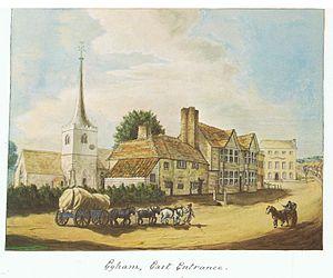 Egham - Watercolour of eastern entrance to Egham, pre. 1817.