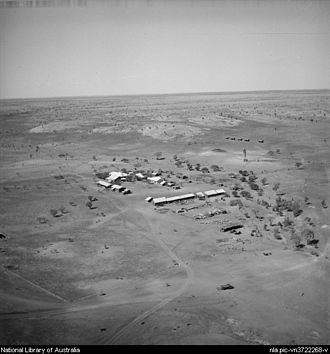 Wave Hill Station - Aerial View of the station headquarters in 1952