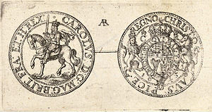 Drawing of the reverse and obverse of a Charles I Civil War half-crown coin