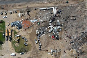 West Fertilizer Company explosion - Explosion site several days after the event