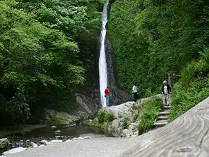 River Lyd, Devon - The White Lady waterfall at Lydford Gorge