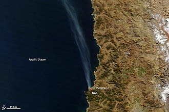 Great Fire of Valparaíso - Satellite image of the fire in Valparaíso, on 13 April 2014