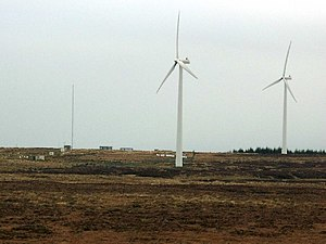 English: Wind turbines on top of Myres Hill. O...