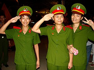 Vietnam People's Public Security - Student Policewomen at Ho Chi Minh Museum, Hanoi, Vietnam. June 2009