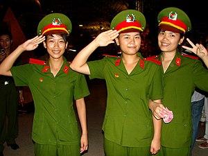 Vietnam People's Public Security - Student Policewomen at Ho Chi Minh Museum, Hanoi, Vietnam. June 2009
