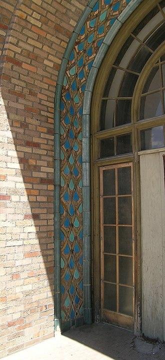 Detroit Women's City Club - Tilework from Pewabic Pottery around front door of Women's City Club
