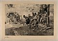 World War One; soldiers escorting wounded men from a war dam Wellcome V0015697.jpg