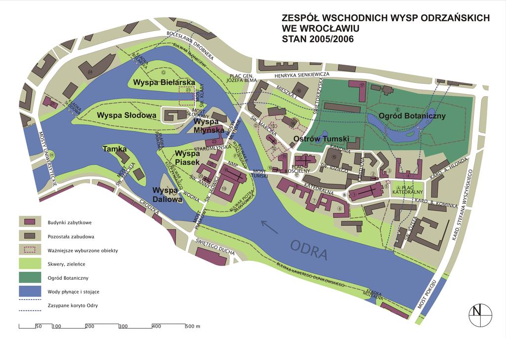 Carte des îles sur le fleuve Oder à Wroclaw au niveau du nord de la Vieille Ville.