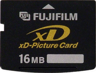 "xD-Picture Card flash memory card format, used in digital cameras made by Olympus and Fujifilm; ""xD"" stands for ""extreme digital"""