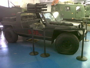 FMC XR311 - An XR311 with six-tube recoilless rifle cluster.