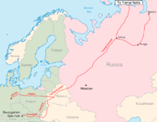 Location of Yamal–Europe pipeline