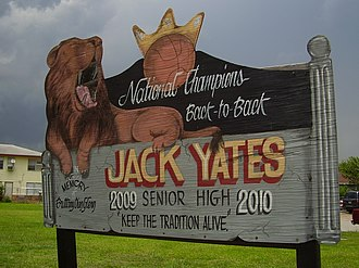 Yates High School - A sign commemorating the school.