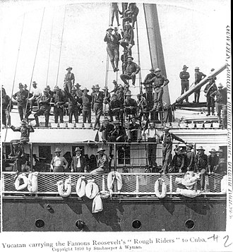 Rough Riders - Rough Riders heading to Cuba aboard the steamship Yucatan.