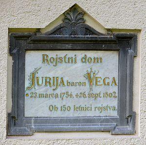 Jurij Vega - Plaque on house