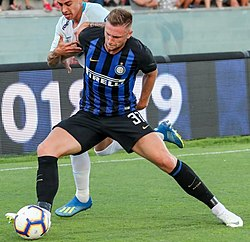 Slovak footballer Milan Škriniar in action with Inter Milan in summer 2018.