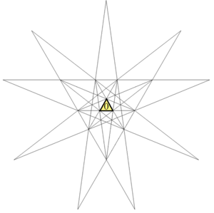 The Fifty-Nine Icosahedra - The stellation diagram for the icosahedron with the central triangle marked for the original icosahedron