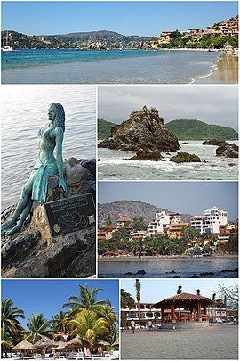Above, from left to right: Panoramic beach 'La Ropa', Statue on the coast that represents Acapulco in Zihuatanejo, Rocks in the bay, Hotels in Playa Madero, Playa Cuachalalate and Playa La Ropa.