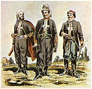 Zouaves of Death (żuawi śmierci), an 1863 Uprising unit organized by François Rochebrune. Drawing (published 1909) by K. Sariusz-Wolski, from a photograph. From left: Count Wojciech Komorowski, Col. Rochebrune, Lt. Tenente Bella