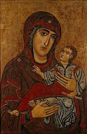 Lucchese School -  'Madonna and Child', tempera and gold on wood panel by an anonymous painter of the Lucchese School, ca. 1200, El Paso Museum of Art