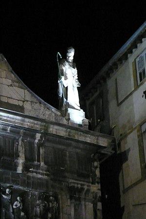 Justus of Lyon - Saint-Just Lyon statue atop Church of St Just, Lyon