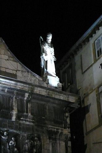 Justus of Lyon - Statue of Saint Justus atop the church dedicated to him, Lyon.