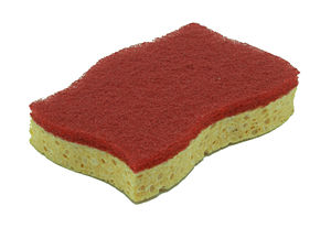 Sponge (material) - Artificial fiber sponge: Polyurethane sponge combined with scouring pad.