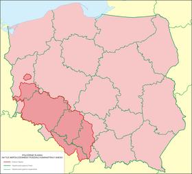 La Silésie du début des temps modernes par rapport aux frontières actuelles de la Pologne.