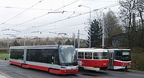 Škoda 15T, Tatra T3R.P & Tatra KT8D5R.N2P on. the loop of the end station lines 3 & 17.JPG