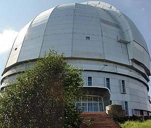 BTA-6 - The telescope's building, with a special crane on the right used for maintenance. A Zeiss 1-m telescope is housed in the building on the right. A 60-cm telescope was added in 1994.