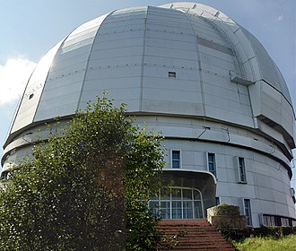 Special Astrophysical Observatory of the Russian Academy of Science - BTA-6 as seen from in front of the main entrance.