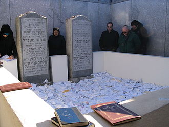 Ohel (Chabad-Lubavitch) - Interior of the Chabad Ohel. The grave of Rabbi Yosef Yitzchak Schneersohn is at right; that of Rabbi Menachem Mendel Schneerson is at left.