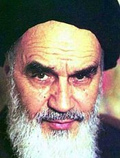Ayatollah Khomeini, then Supreme Leader of Iran who issued the fatwa
