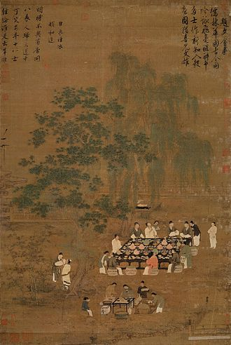 History of Chinese cuisine - A Chinese painting of an outdoor banquet, a Song Dynasty painting and possible remake of a Tang Dynasty original.