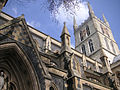 004 Southwark Cathedral details of tower and flying buttresses.JPG