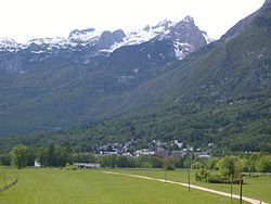 View of the town of Bovec and the Kanin mountains