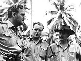 Informal half portrait of three men in military uniforms, with palm trees in the background