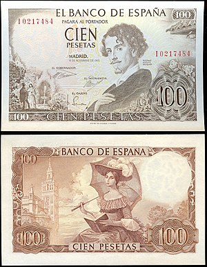 English: 100 pesetas of Spain 1965. This note ...
